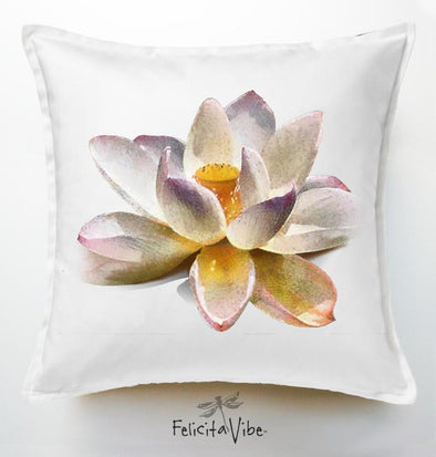 White Lotus 20X20 Throw Pillow Cover