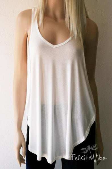 Limited Edition White Open Sided Racer Back Fashion Tank Top