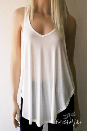 Limited Edition White Open Sided Racer Back Fashion Tank Top - Felicita Vibe® - felicitavibe.com