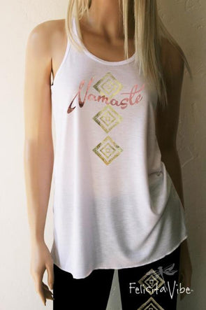 Namaste White flowy Yoga & Workout Tank Top