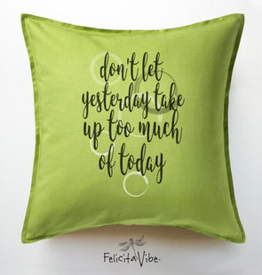 """Yesterday"" Decorative Apple Green Throw Pillow Cover"