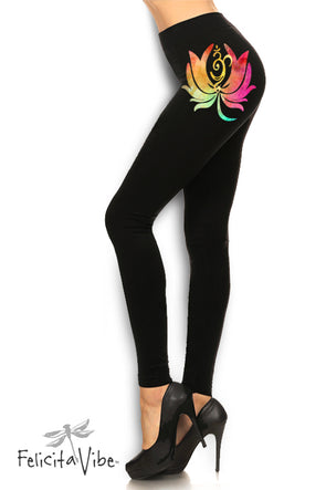 Brightly Painted Lotus and  Om Black High Waisted Leggings