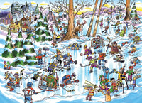 1000pc Puzzle Cobble Hill - Doodletown Hockey Town