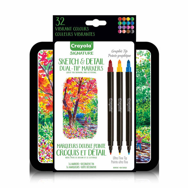 Crayola Signature 16ct Sketch & Detail Dual-Tip Markers