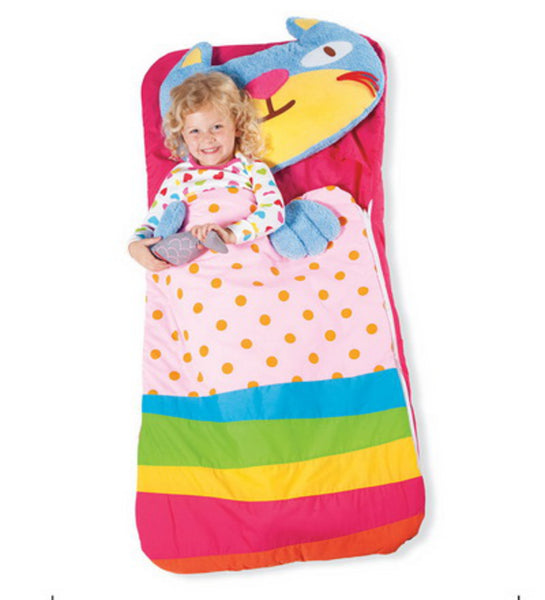 Sillies Sleeping Bag with Plush Pillow - Cat with Fish