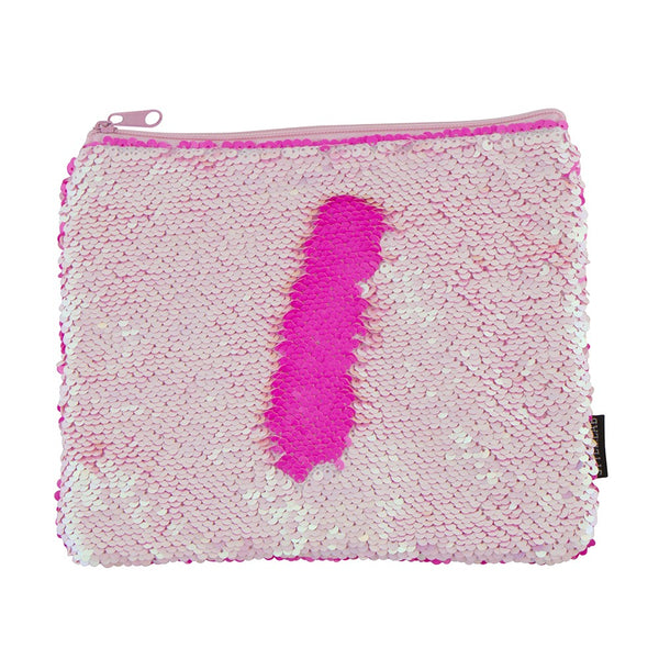 S. Lab Magic Sequin Pouch- Iridescent/Neon Pink