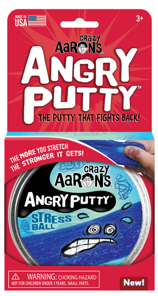 Crazy Aaron's Thinking Putty - Angry Putty Stress Ball - The Putty that fights back 4inch Tin