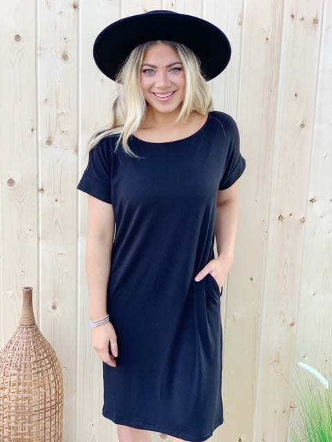 Atlantis T-Shirt Dress - Black