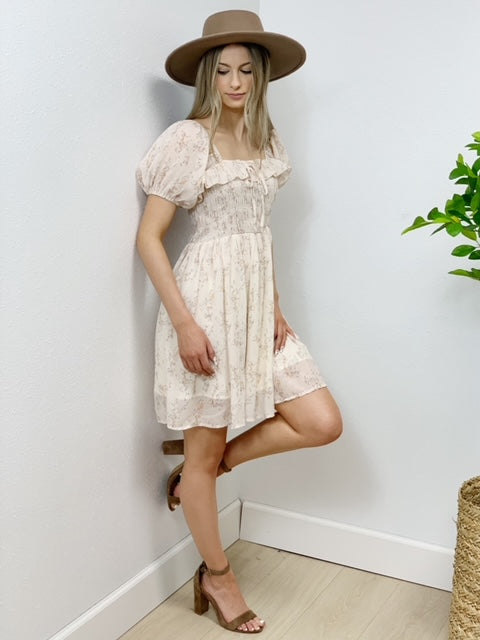 Sacred Gardens Smocked Dress - Cream