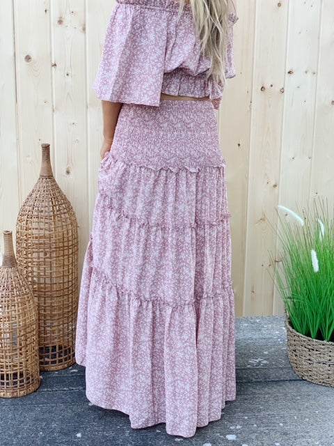 Fairytale Endings Tiered Maxi Skirt - Blush