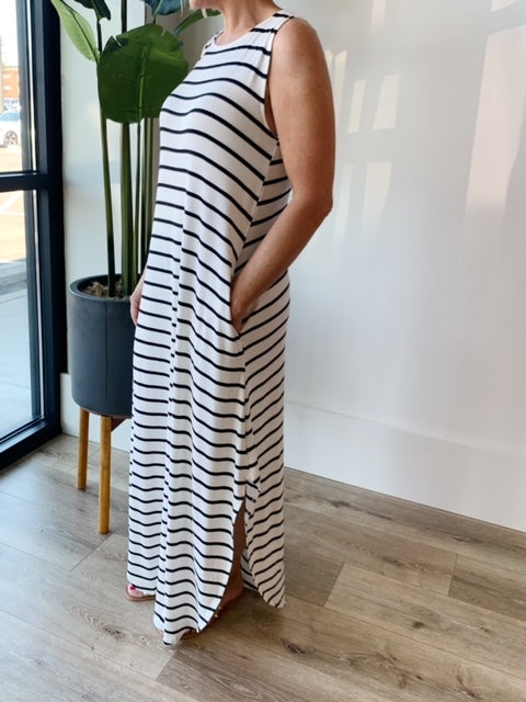 Landyn Stripe Maxi Dress - Ivory/Black