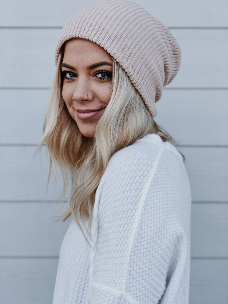 Lumber Jane Beanie - Oatmeal, Blush, Denim, Mustard