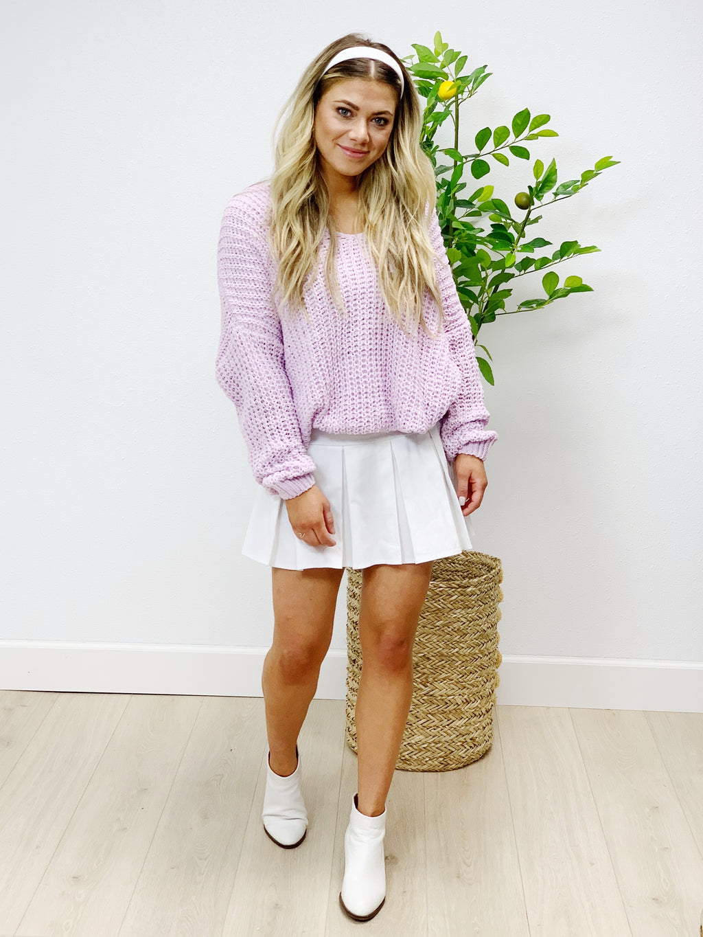 Hollywood Hills Cotton Blend Sweater - Lilac