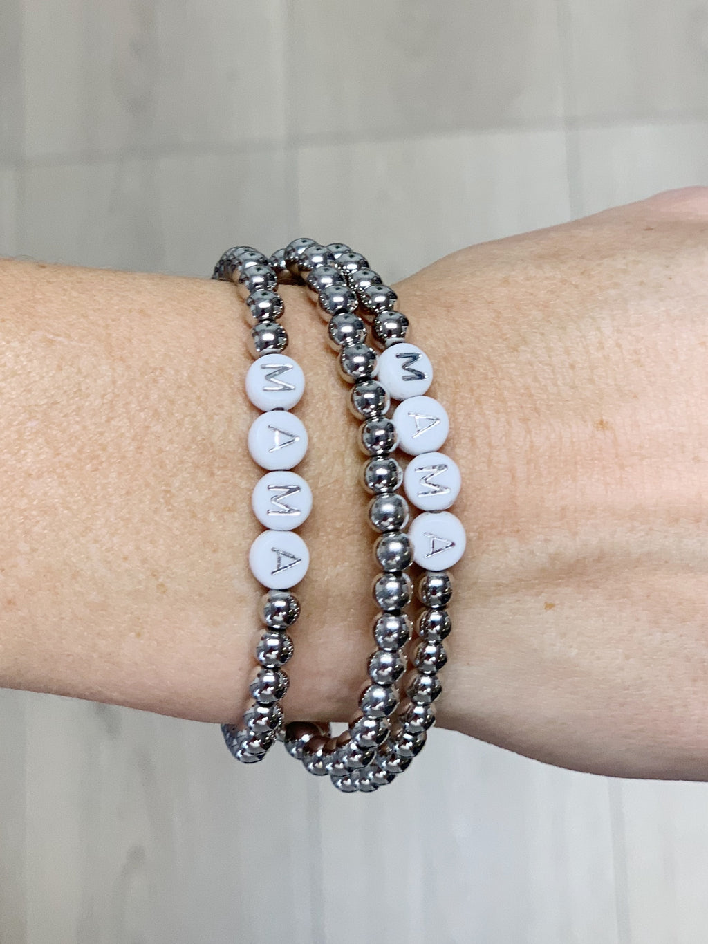 Mama Bead Bracelet Stack - 2 Colors