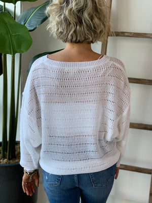 Penelope Pointelle Sweater - White