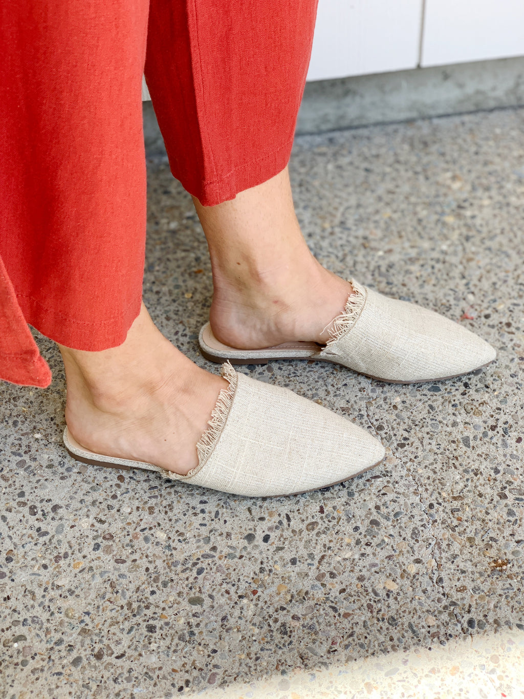 Lurex Linen Slides - Natural