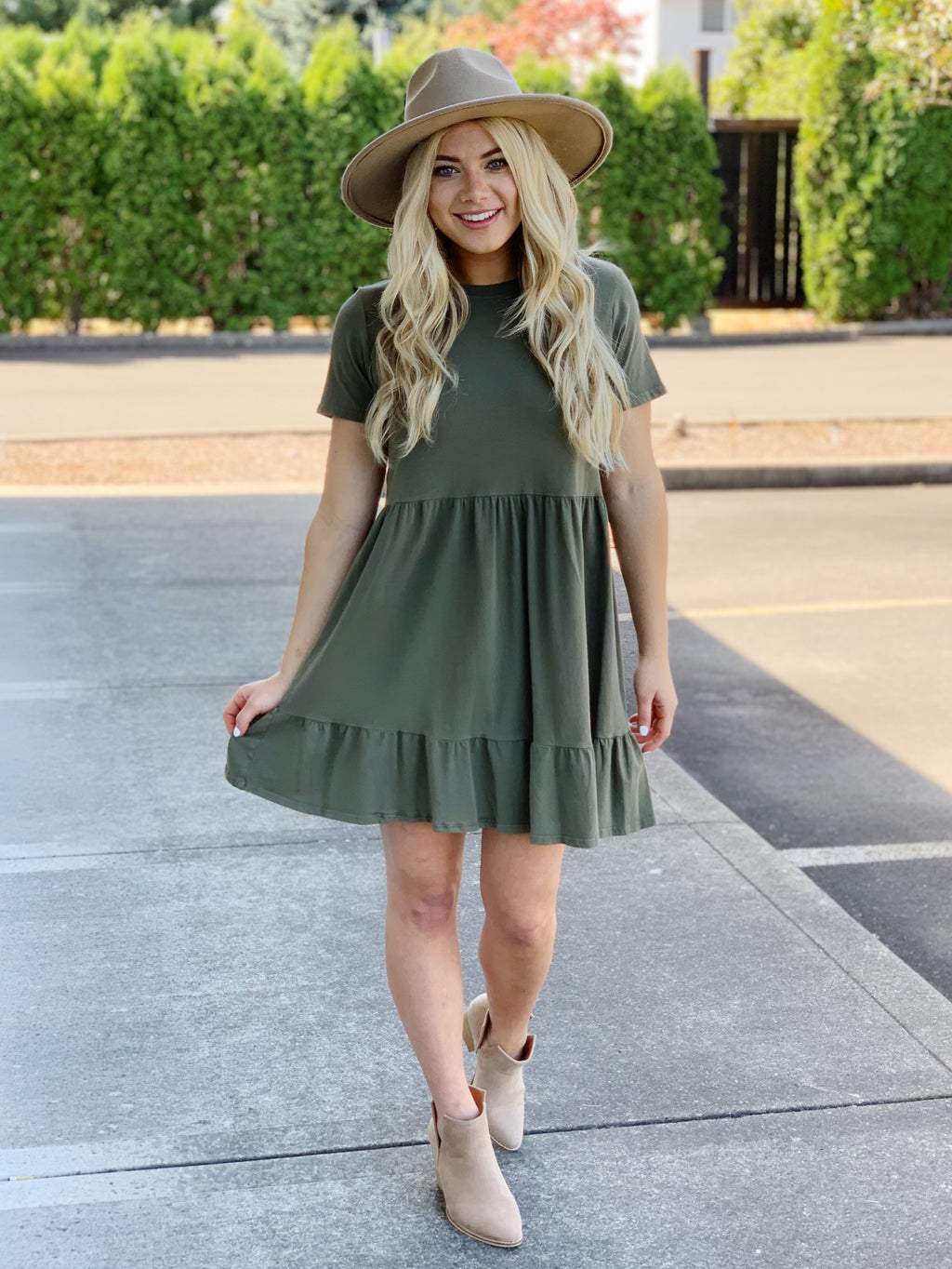 River's Edge Tiered Dress - Sage