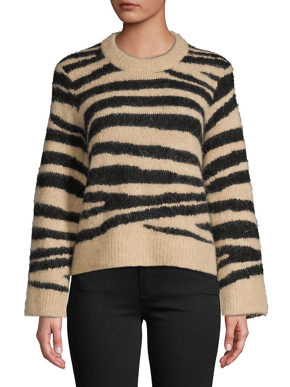 Tiger-Print Pullover Sweater
