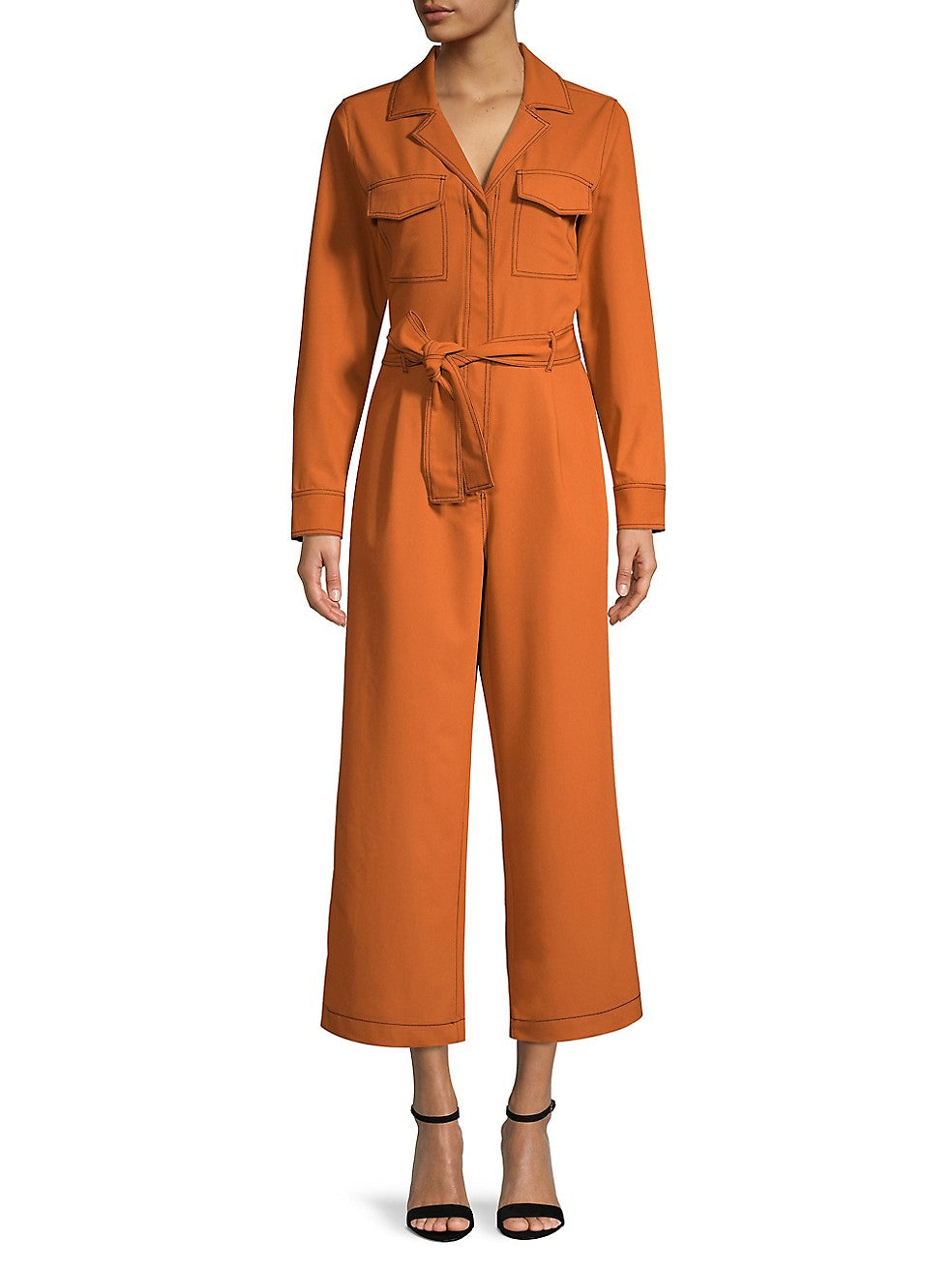 Long-Sleeve Belted Jumpsuit