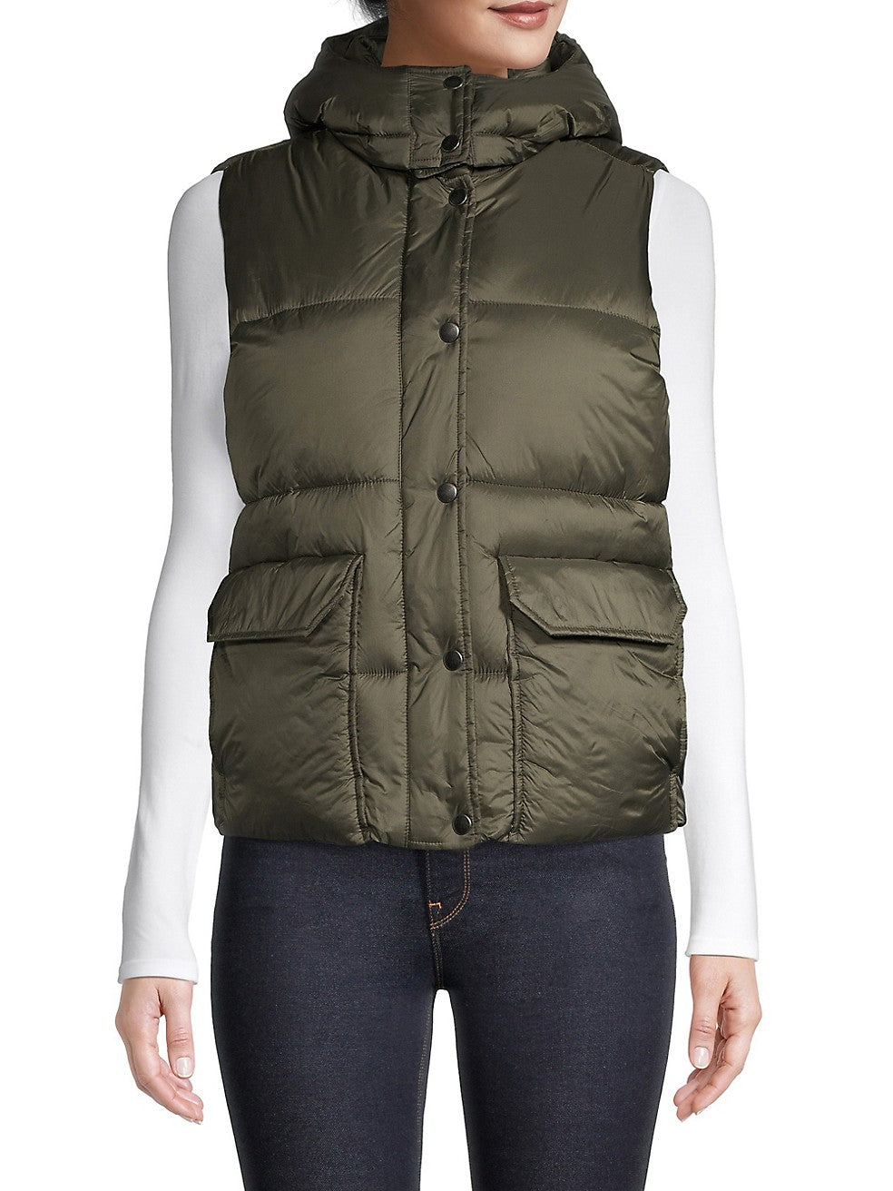 Buttoned Hooded Vest