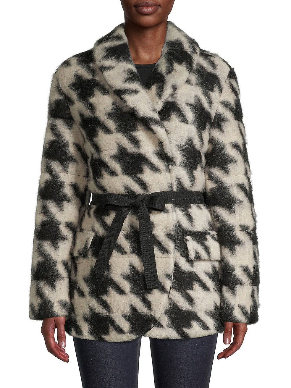 Wool-Blend Houndstooth Coat