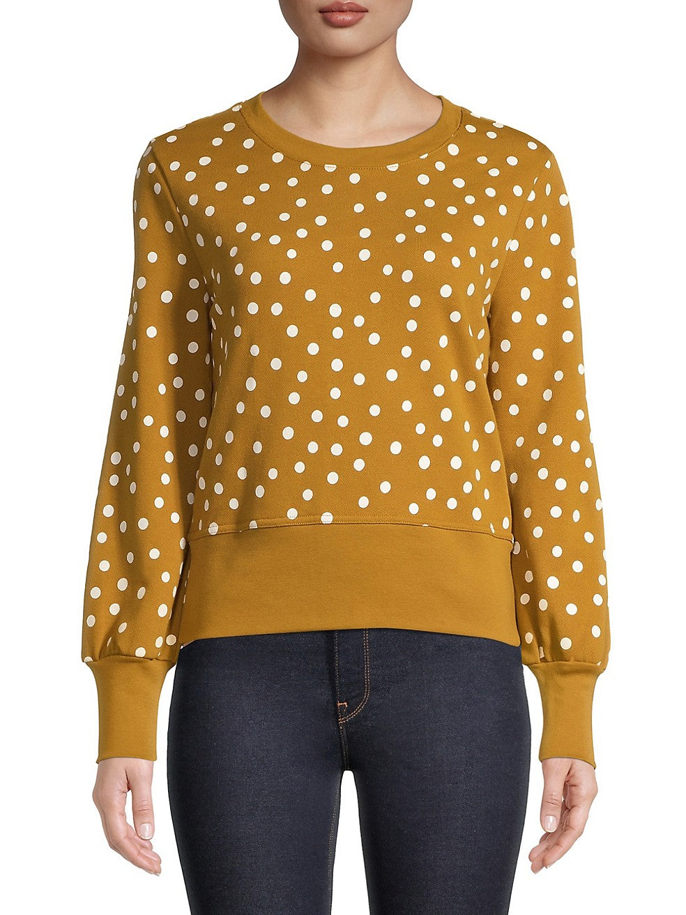 Dotted Puff-Sleeve Sweater