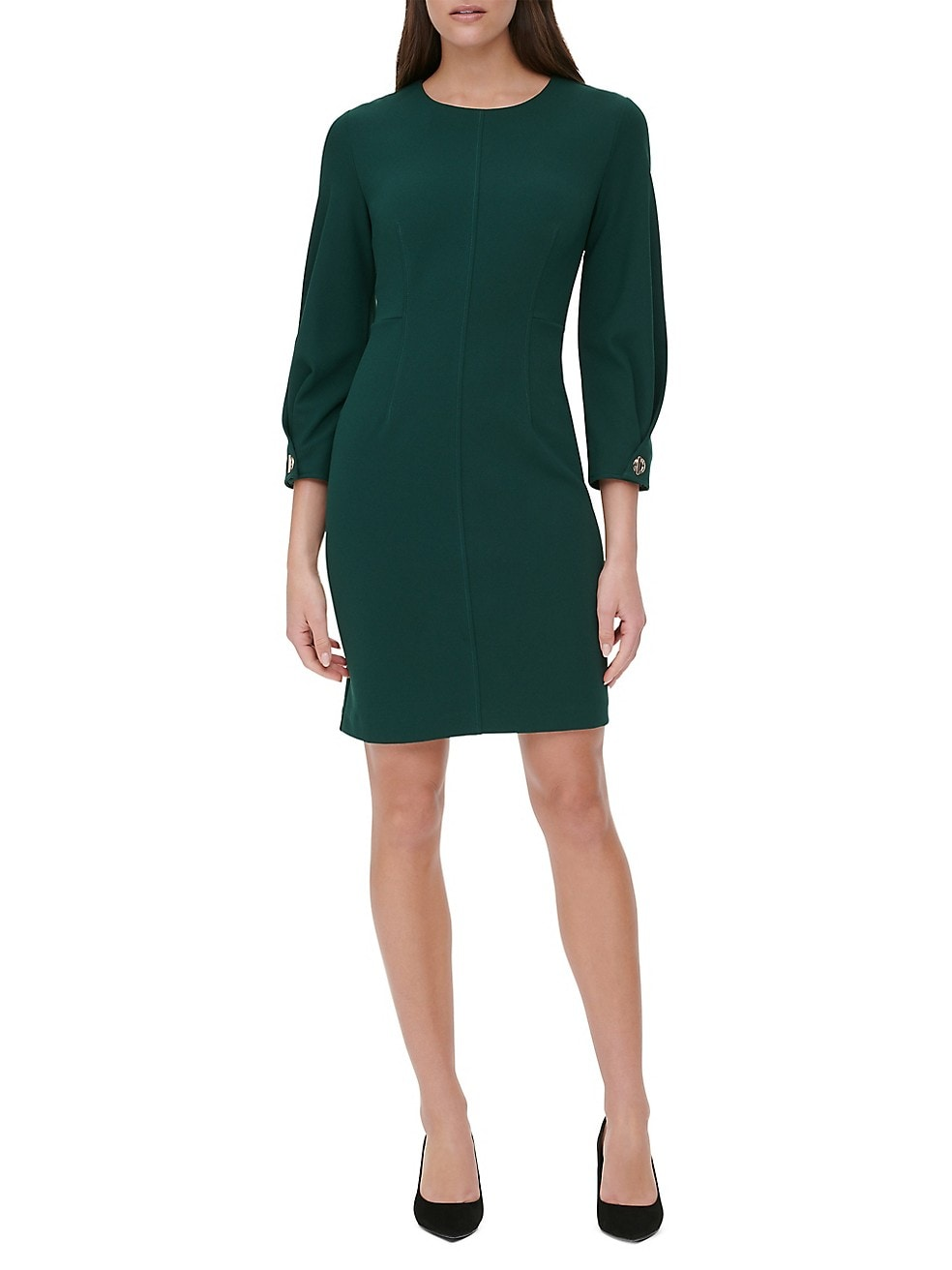 Scuba Crepe Long Sleeve Dress