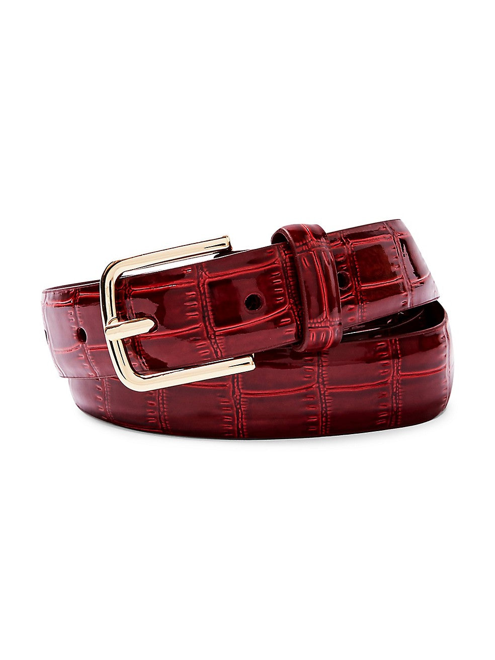 Red Patent Crocodile-Embossed Belt