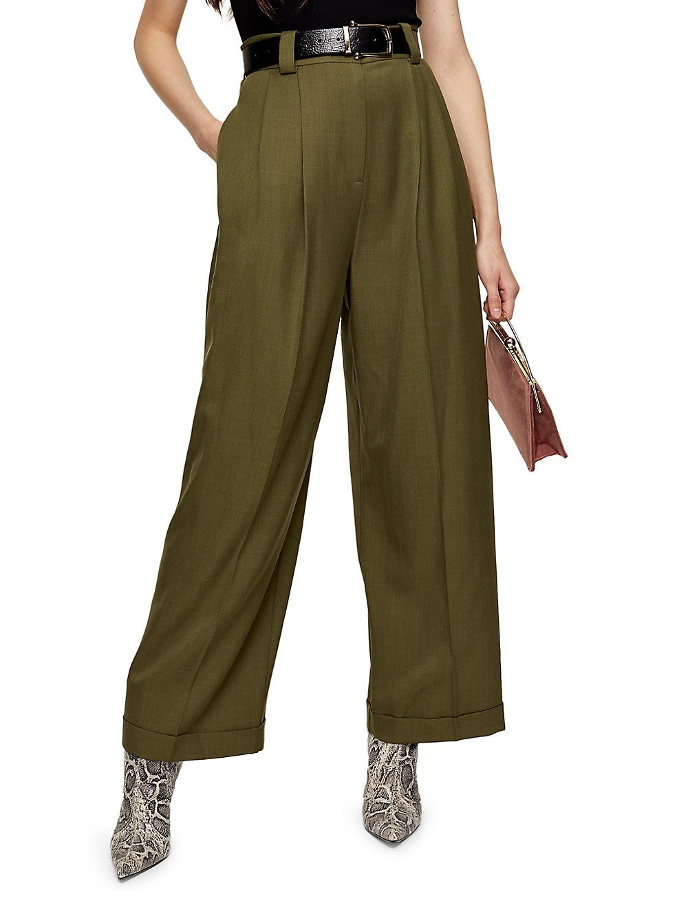 Elasticated-Back Wide-Leg Pants