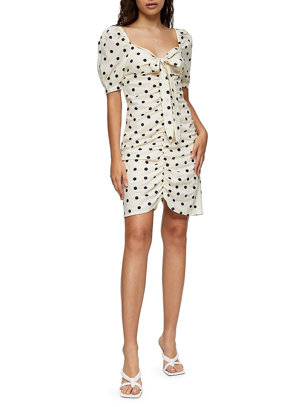 Spotted Ruched Tie Front Mini Dress