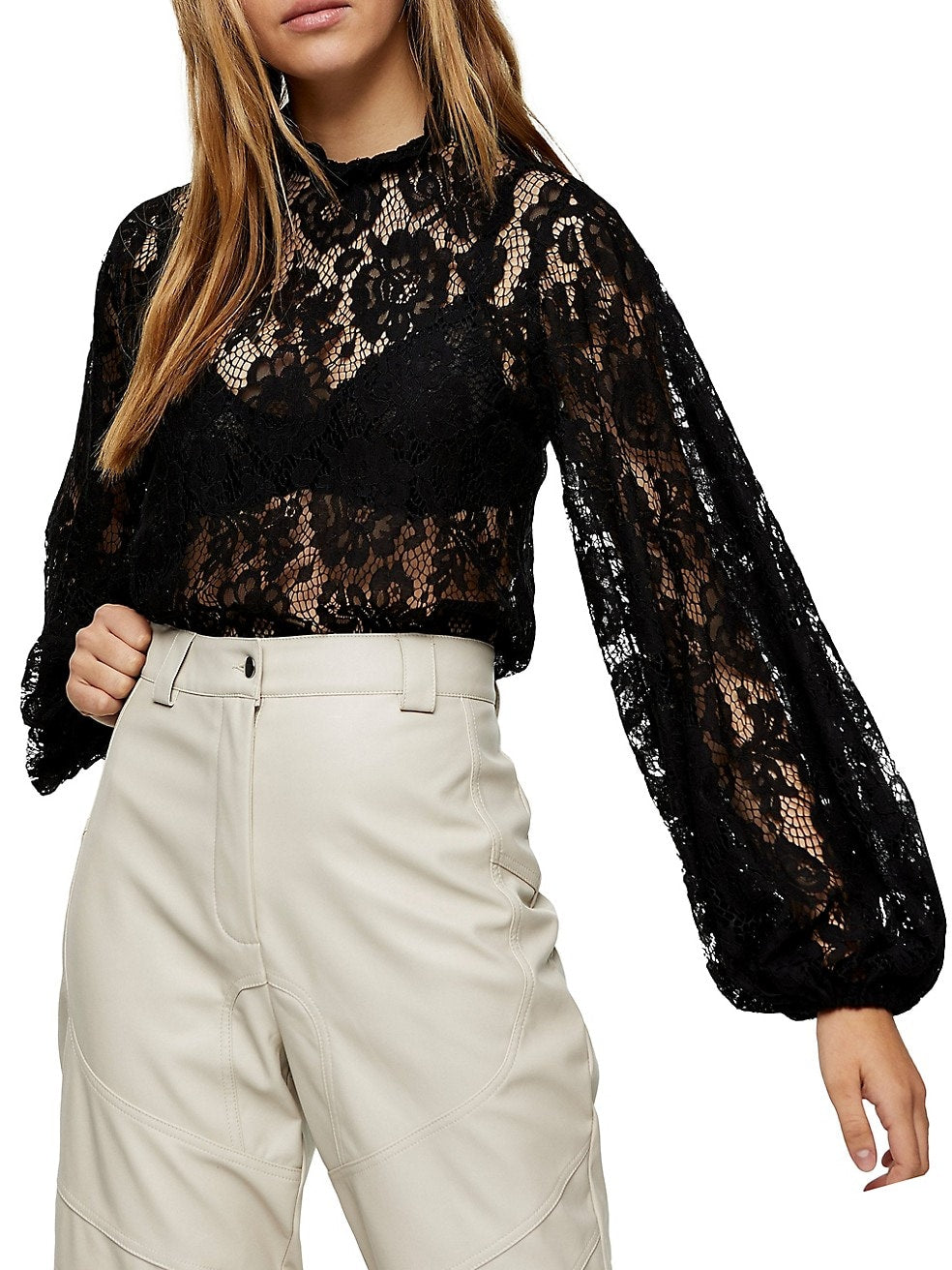 Volume-Sleeve Lace Top
