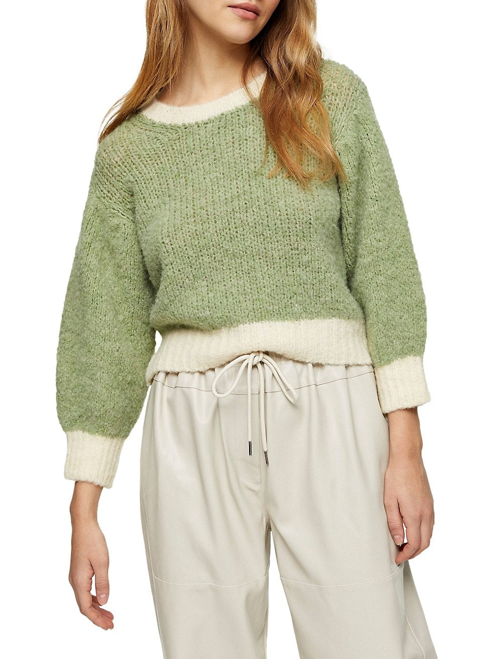 Contrast-Trim Cropped Sweater