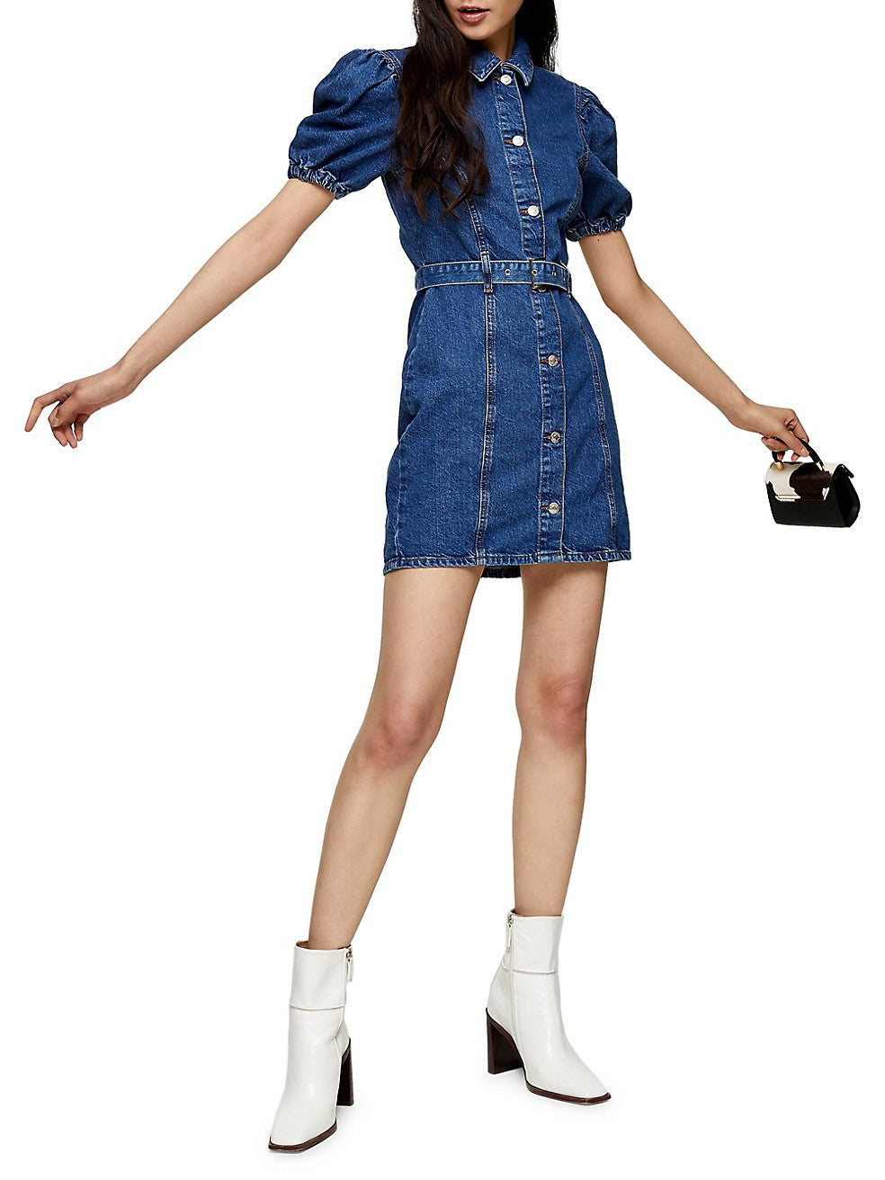 Puff-Sleeve Denim Dress