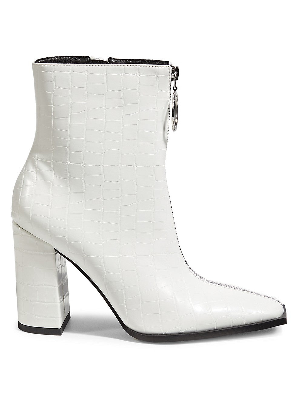 Payback Croc-Embossed Square-Toe Zip Boots
