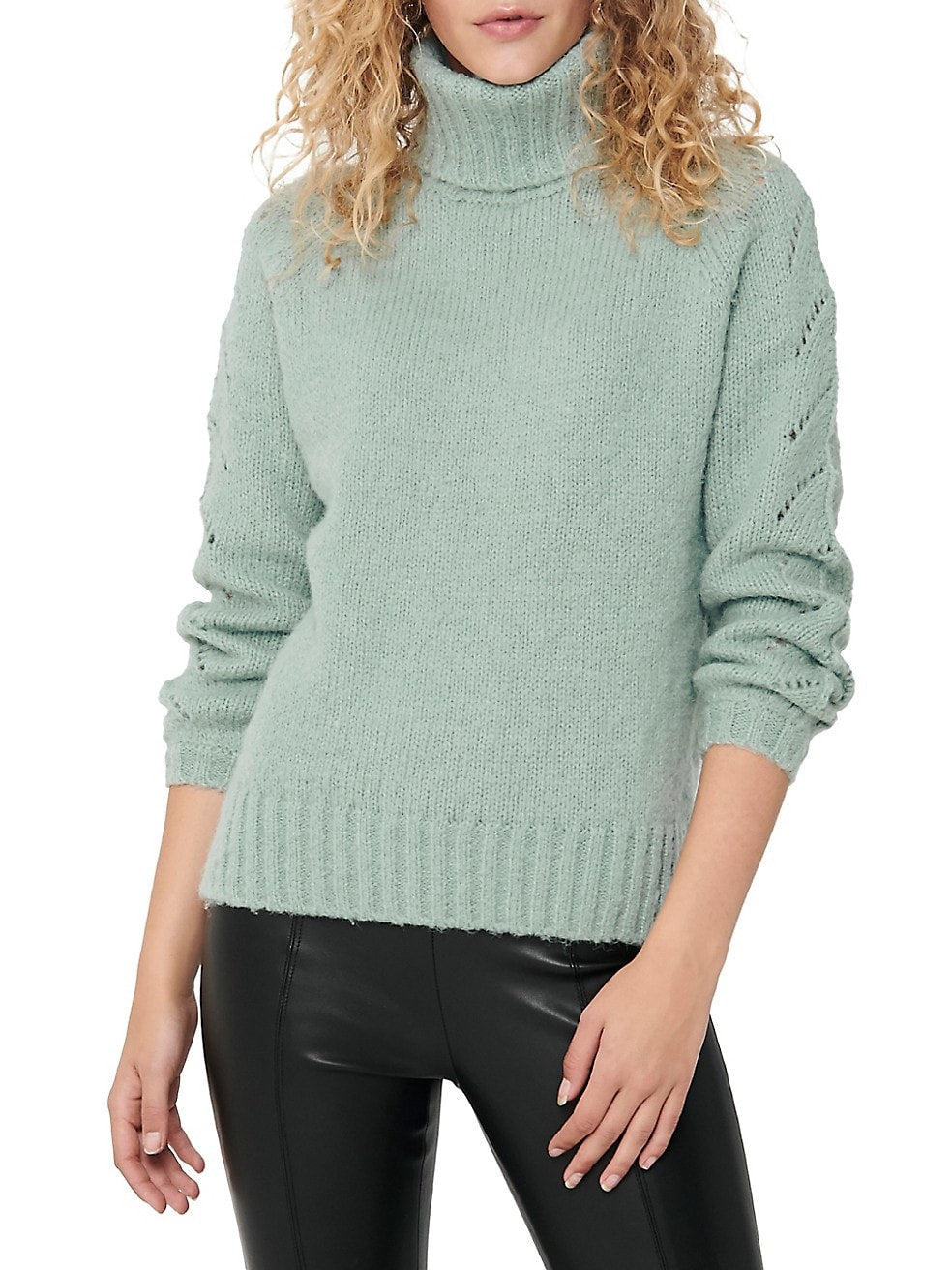 Eyelet Turtleneck Sweater