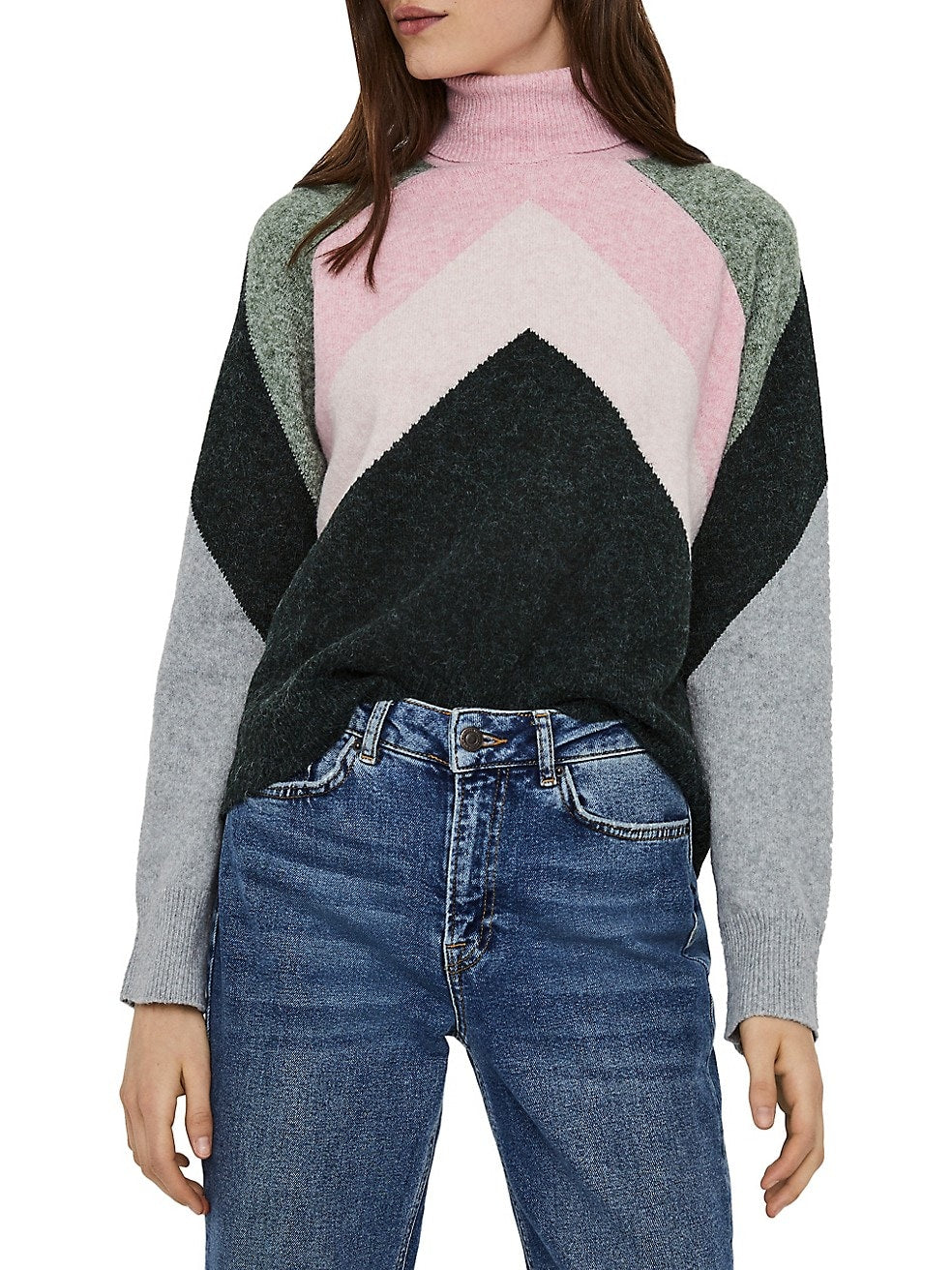 Doffy Colourblock Roll Neck Sweater