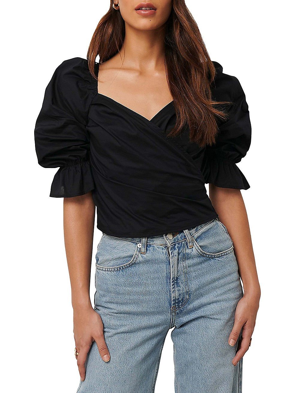 Puff-Sleeve Cropped Blouse