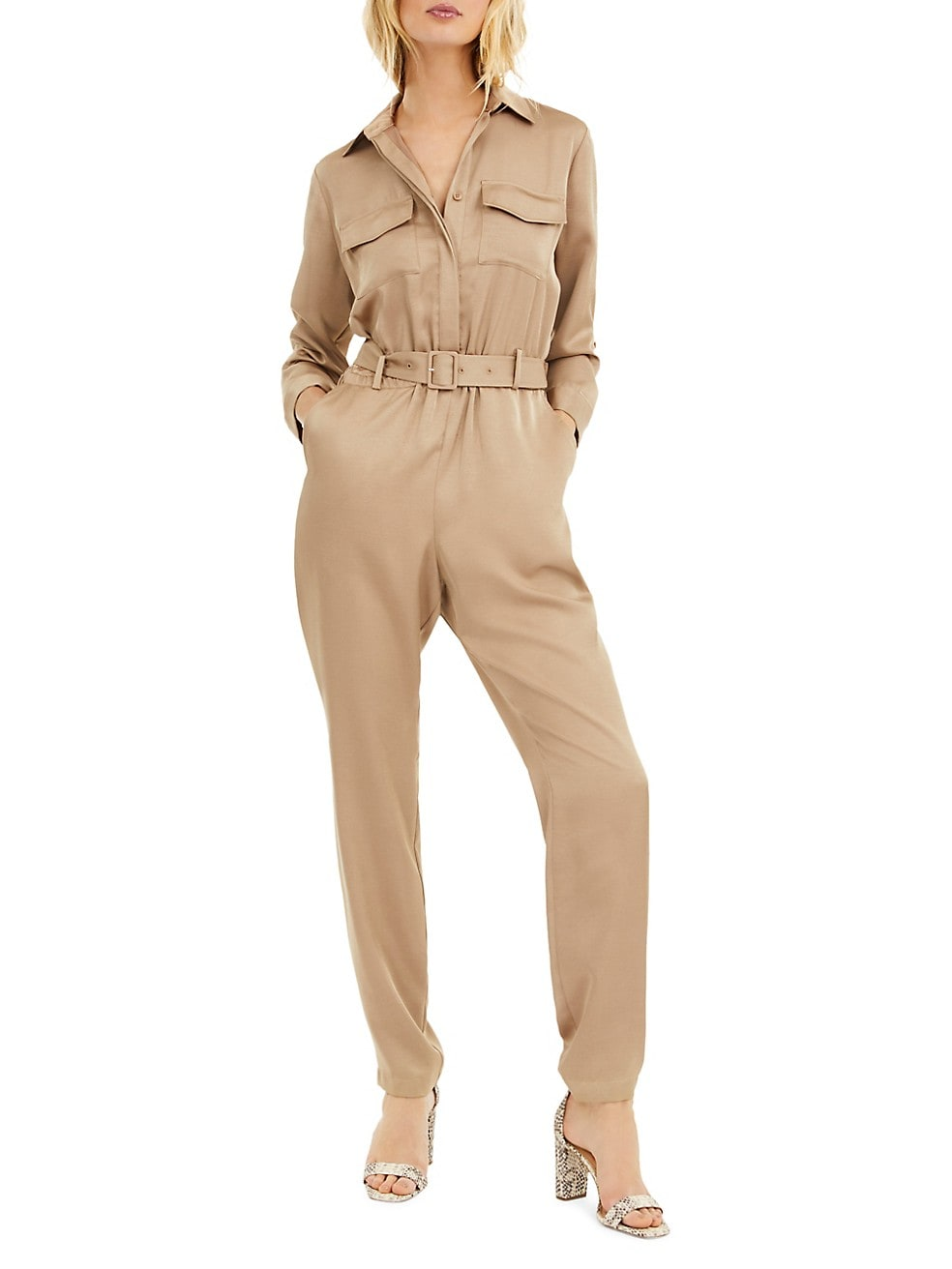 Belted Button-Front Satin Jumpsuit