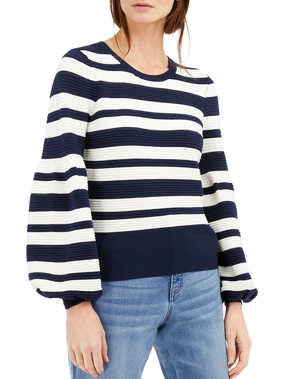 Striped Puff-Sleeve Sweater