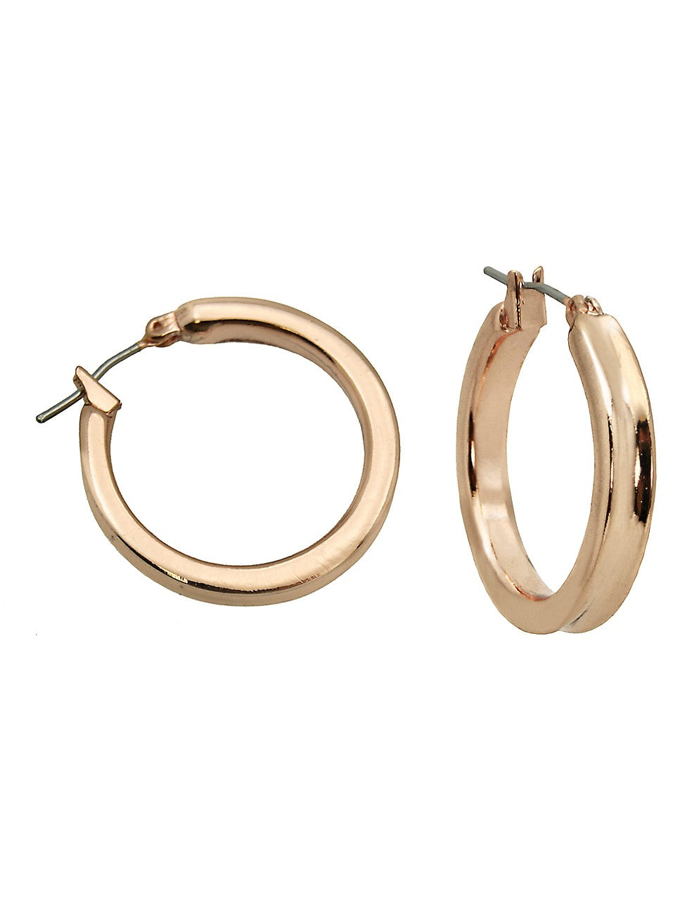 Thick Rose Tone Hoop Earring
