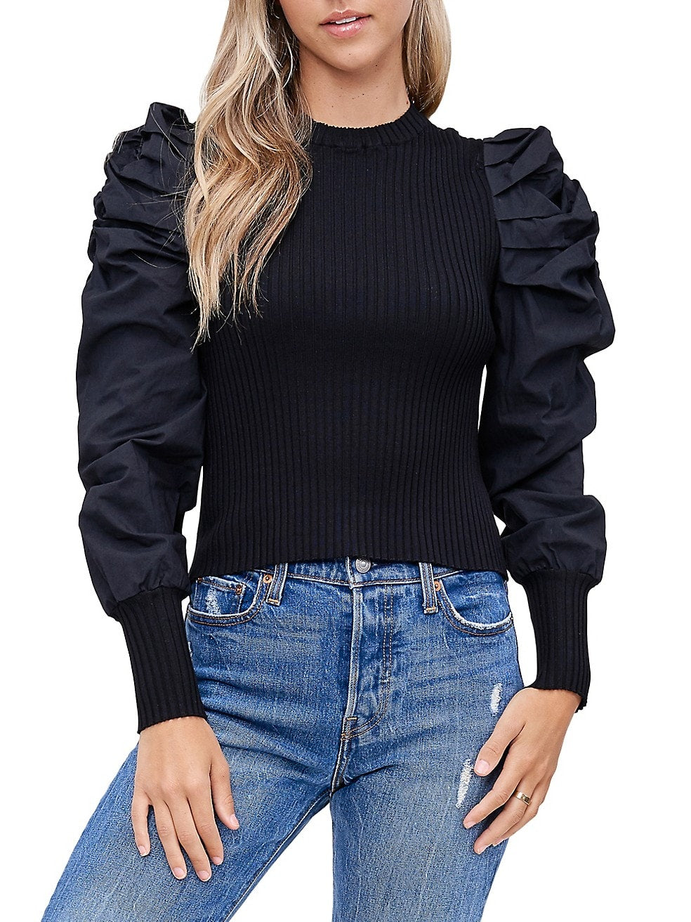 Mixed Media Puffed-Sleeve Top