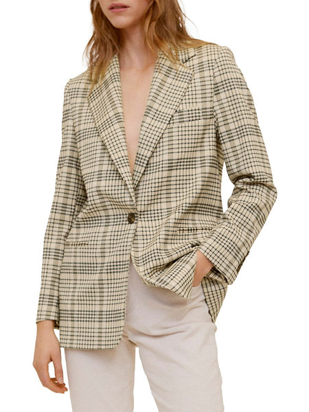 Gaby Check-Print Structured Blazer