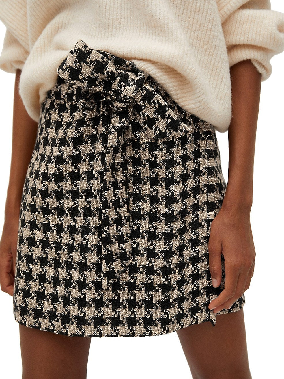 Houndstooth Belt Mini Skirt