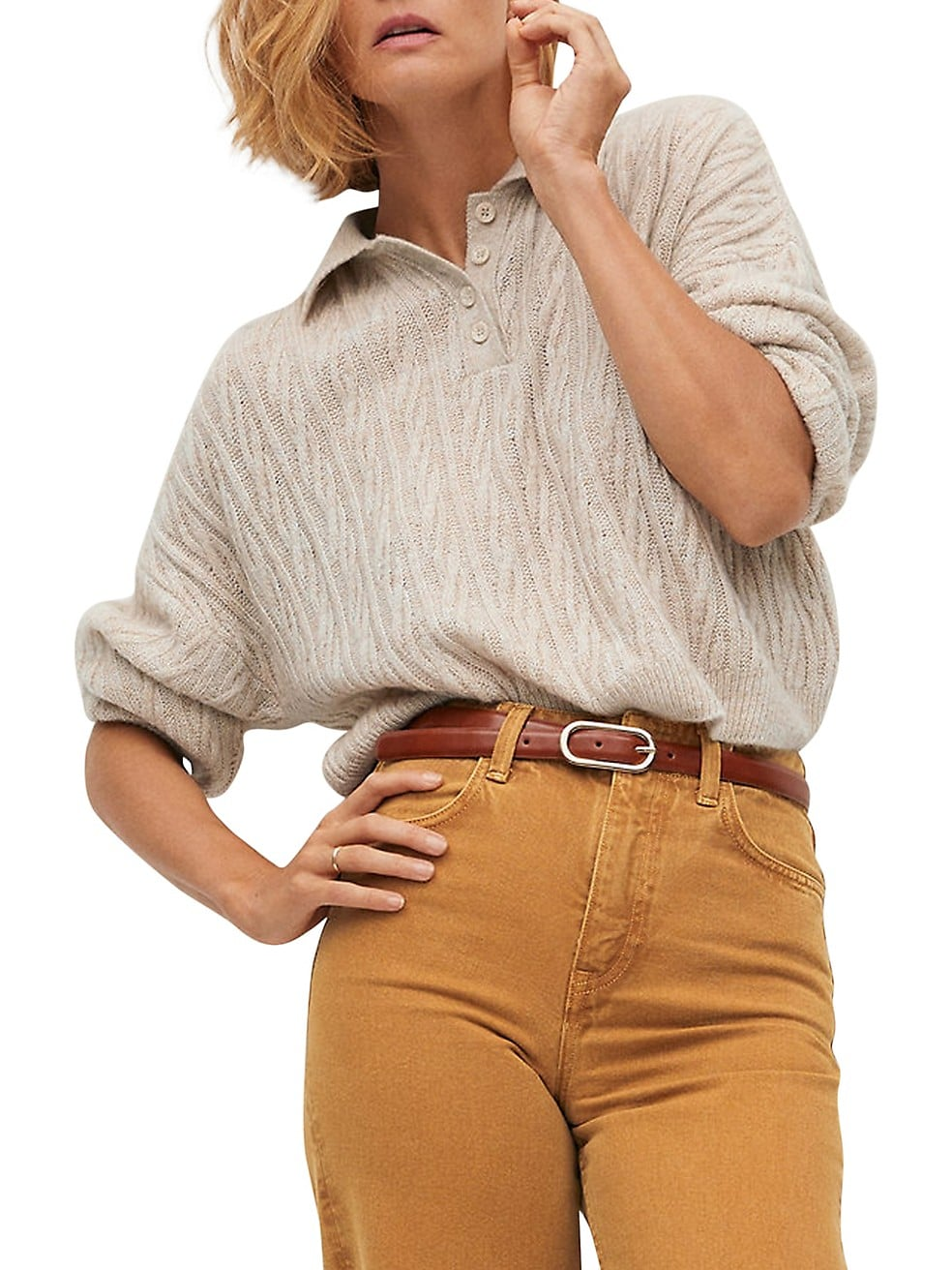 Polo-Style Cableknit Sweater