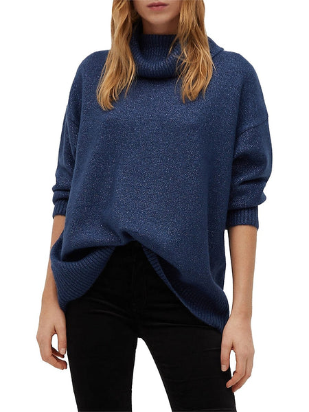 Metallic Cowlneck Sweater
