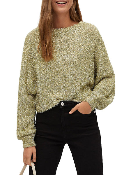 Cropped Textured Roundneck Sweater