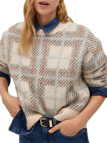 Checkered Dropped-Shoulder Sweater
