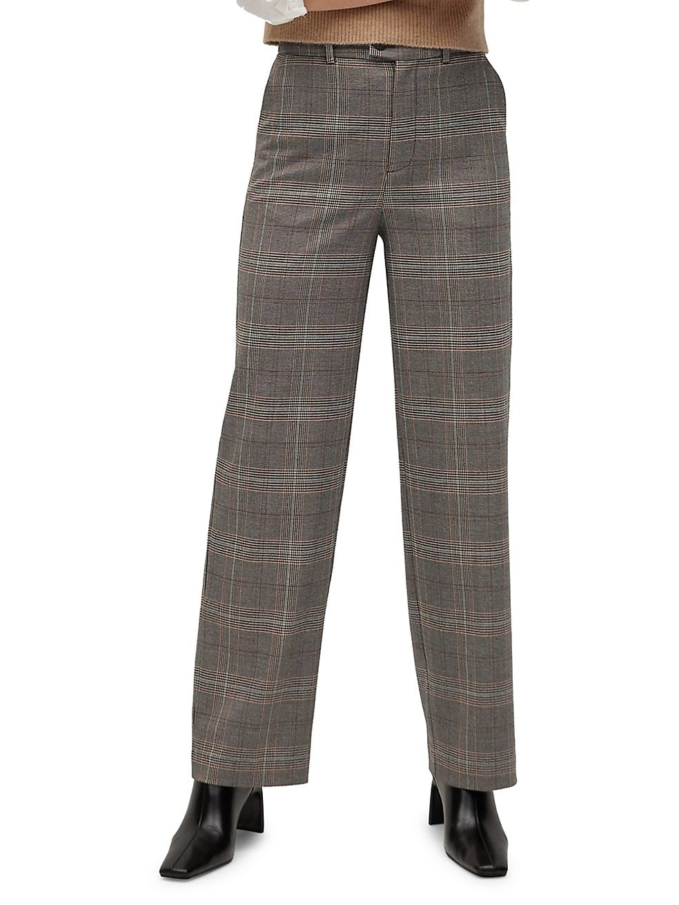 Straight Checkered Trousers