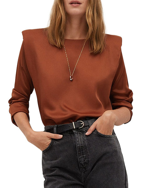 Long-Sleeve Satin Top