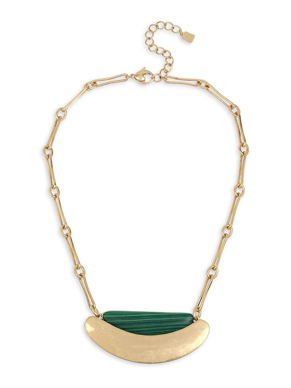 Greener Pastures Goldtone & Green Malachite Sculptural Curved Necklace